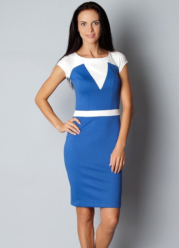Двухцветное платье футляр