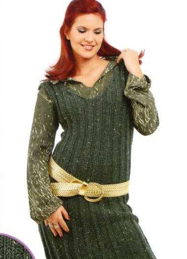 вязаные теплые платья для полных описание азбука вязания