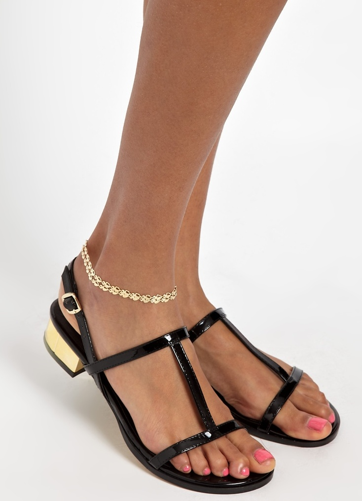 Золотой браслет на ногу адамас