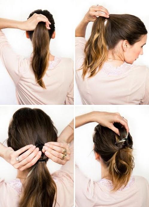 прически на средние волосы с крабиками