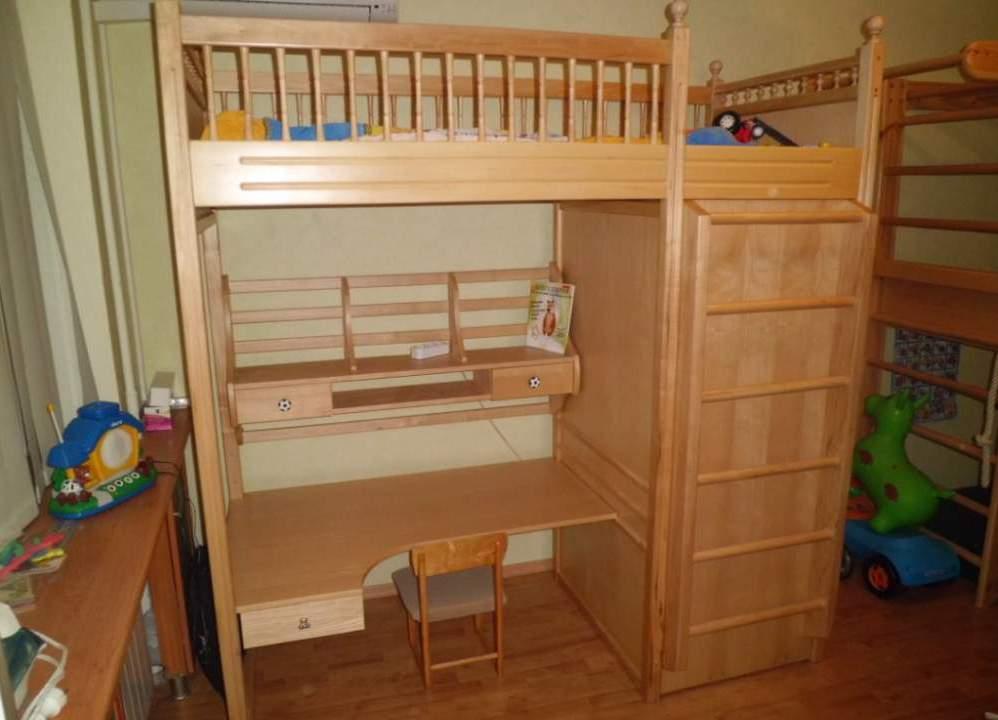Деревянная кровать-чердак для взрослых на заказ