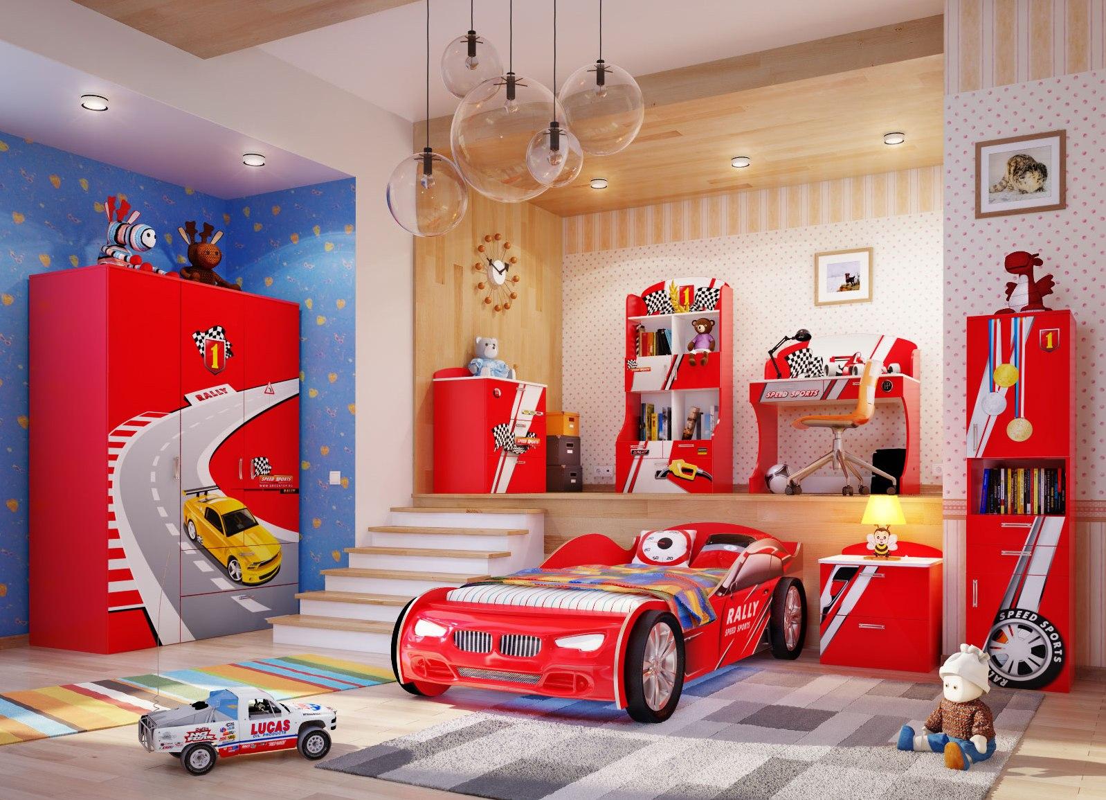 Детские кровати машины в интерьере детской