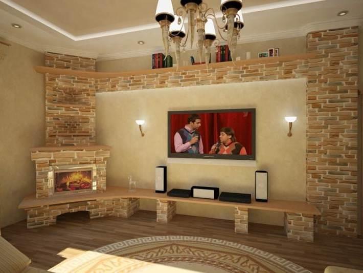 Угловые камины в гостиной