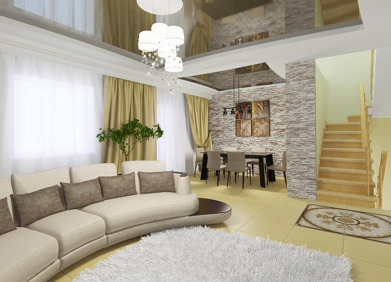 Интерьеры зала в своем доме