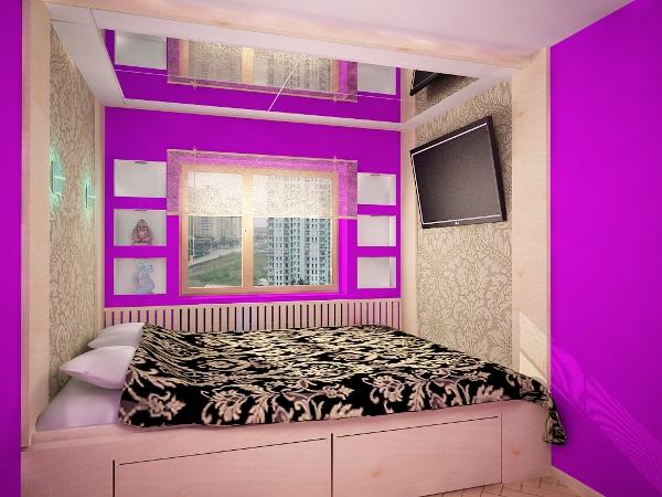Дизайн интерьера спальни в хрущевке1