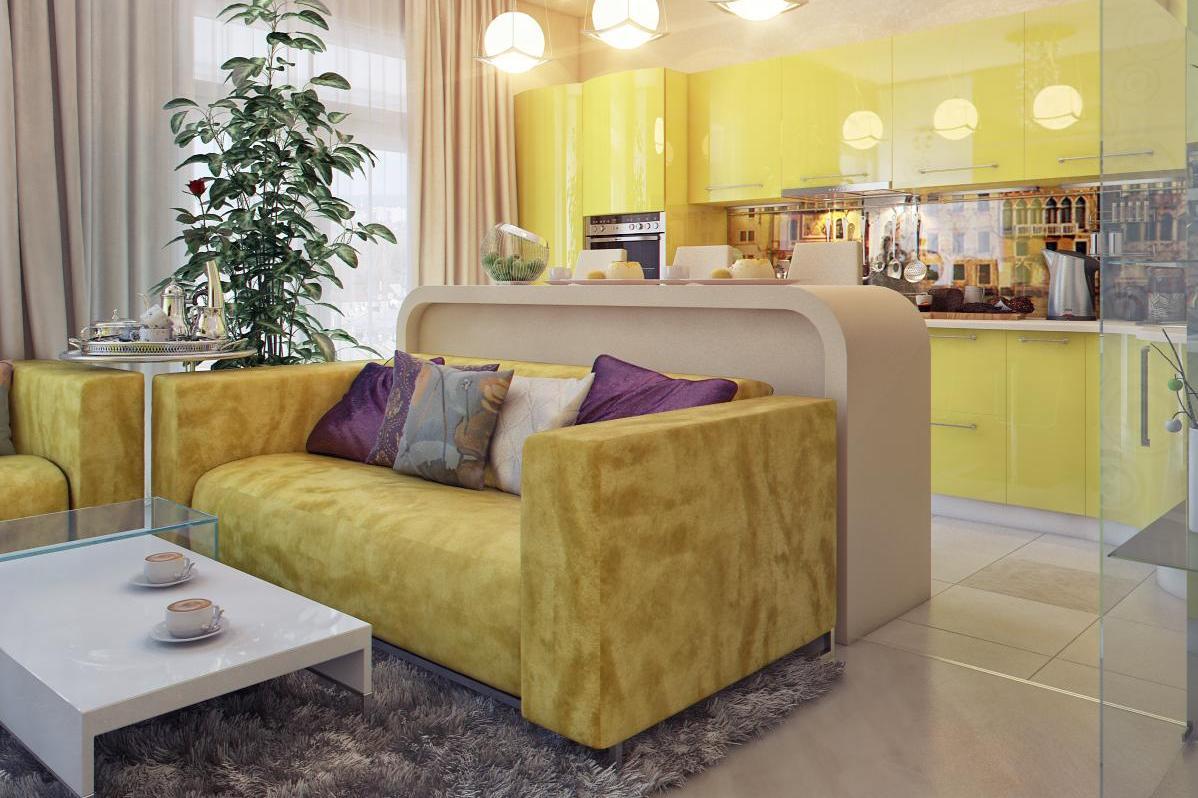 Кухня 13 м дизайн с диваном