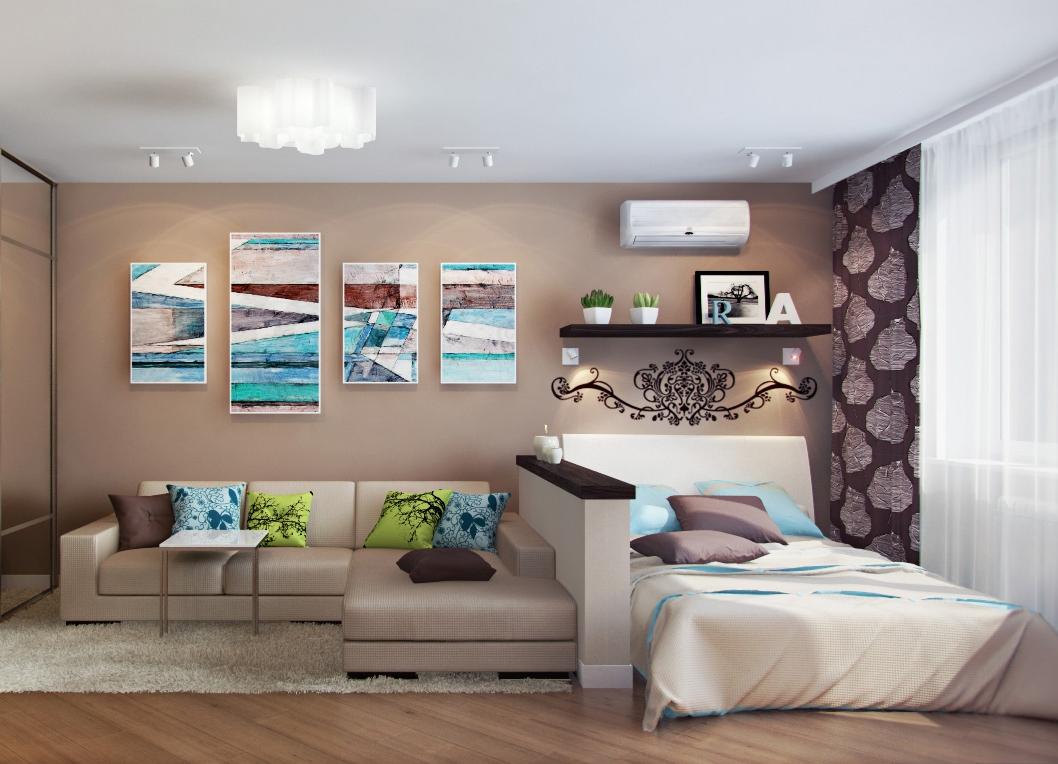 Маленькая гостиная-спальня дизайн