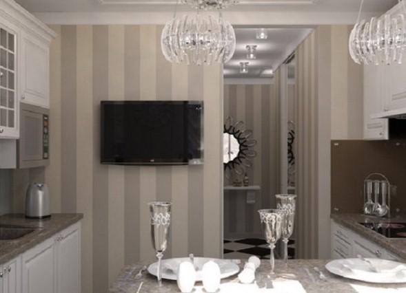 Дизайн обои в кухне фото