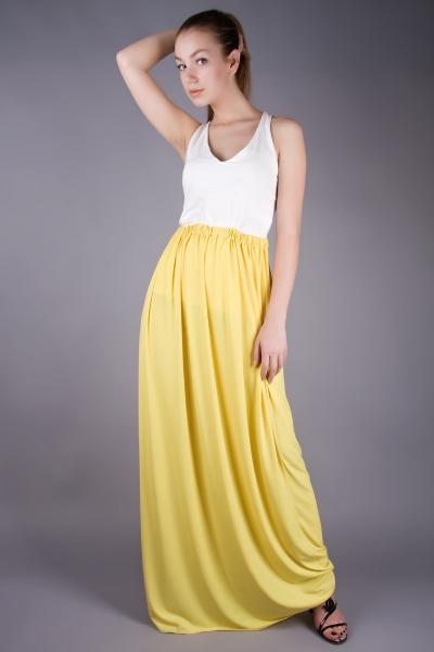 Желтая трикотажная юбка
