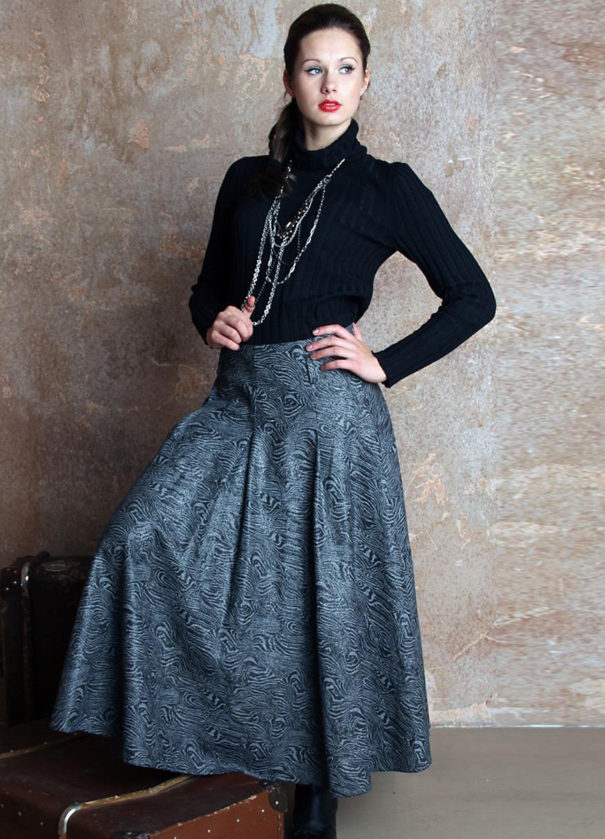 Зимняя длинная трикотажная юбка