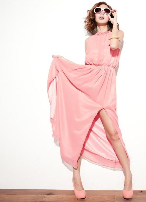 Платье длинное летнее розовое