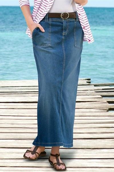 Юбка прямая длинная джинсовая