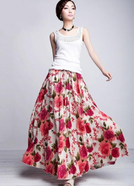 стильны длинные юбки: