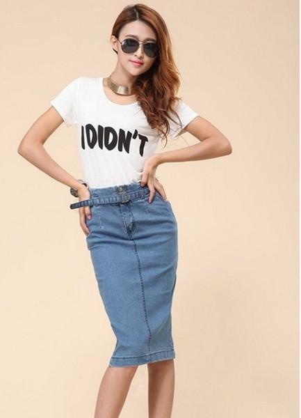 Юбка джинсовая с завышенной талией купить