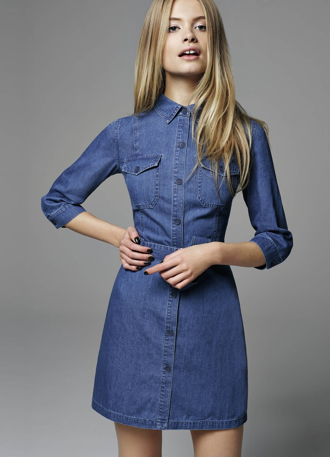 how to wear a denim shirt dress in winter