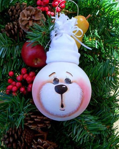 елочные игрушки из лампочек 1