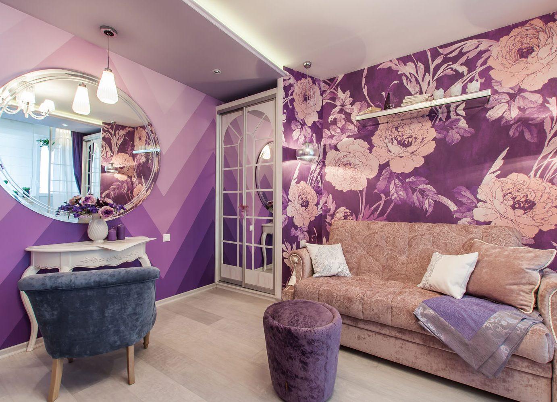Обои для стен с фиолетовыми цветами