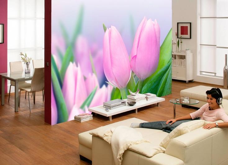 фотообои белые тюльпаны: