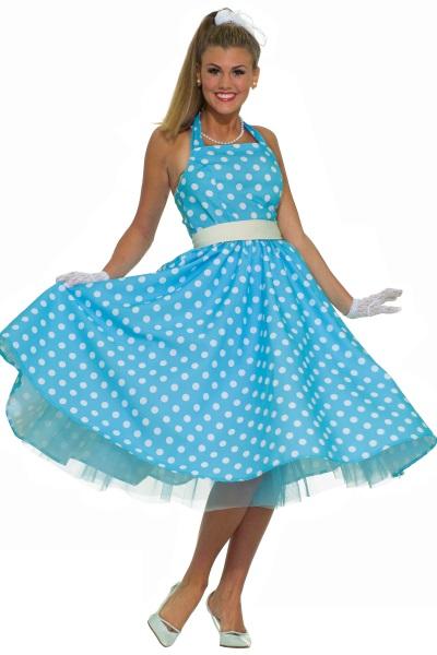 Голубое платье в горошек фото