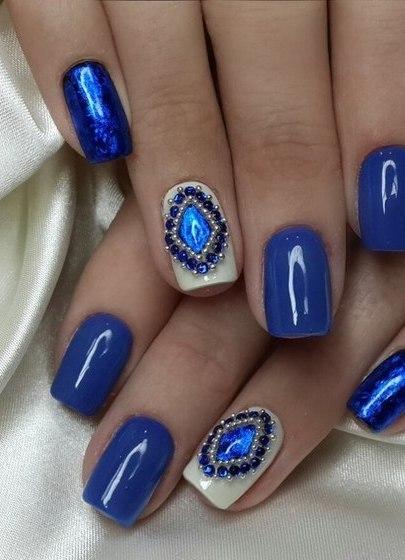 Ногти гель лак синие фото