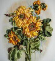 Картинка подсолнухи для вышивки лентами