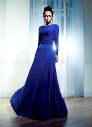 платья синего цвета фото в пол