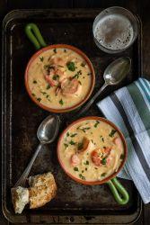 сырный крем суп с креветками