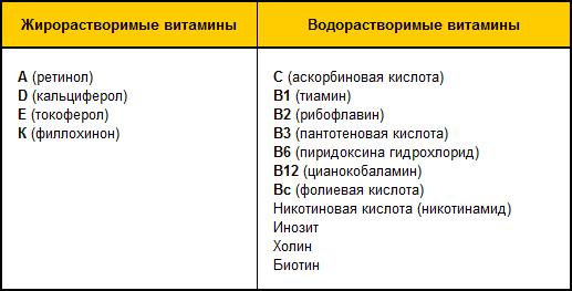 Функции водорастворимых витаминов таблица