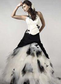 Черно-белое свадебное платье 6