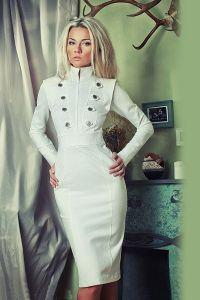 Платье с воротником стойка 9
