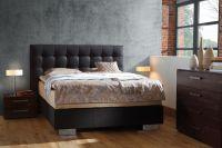 Кровать с кожаным изголовьем1