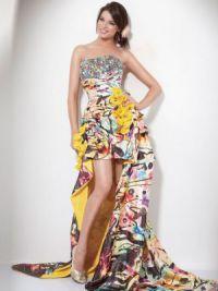 Платье длинное сзади короткое спереди 7