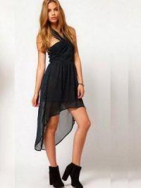 Платье длинное сзади короткое спереди 9