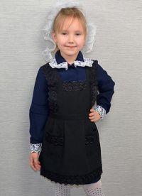 Школьное платье с фартуком 11