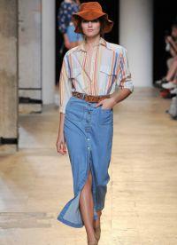 модные джинсовые юбки 2015 6