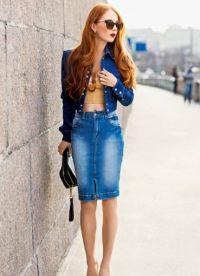 модные джинсовые юбки 2015 7
