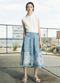 модные джинсовые юбки 2015 8