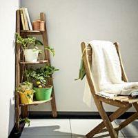 Напольная деревянная подставка под цветы1