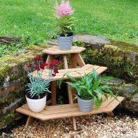 Напольная деревянная подставка под цветы3