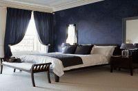обои синего цвета для спальни 1