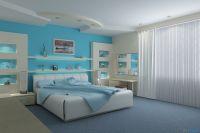 обои синего цвета для спальни 3