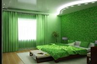 обои зеленого цвета для спальни 1