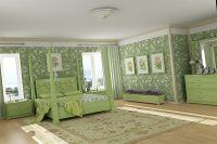 обои зеленого цвета для спальни 3