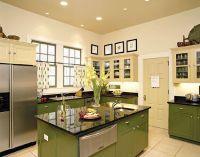 оливковый цвет в интерьере кухни3