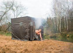 Палатка баня походная с печкой