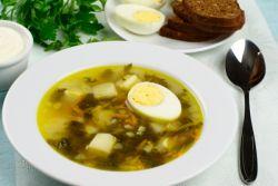 куриный суп с щавелем и яйцом