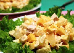 классический салат курица с ананасом рецепт