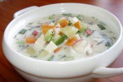 Рецепт вегетарианской окрошки на кефире