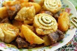штрудели с картошкой и мясом рецепт с фото