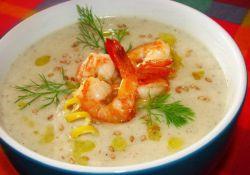 сливочный суп с креветками и рисом